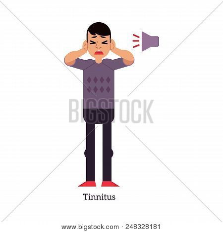 Young Man With Tinnitus - Symptom Of Otolaryngology Disease Isolated On White Background. Sick Male