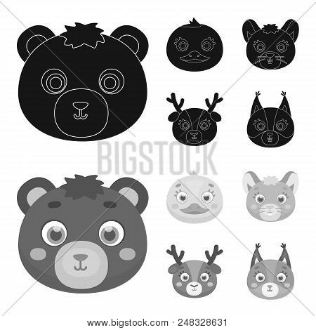 Bear, Duck, Mouse, Deer. Animal Muzzle Set Collection Icons In Black, Monochrome Style Vector Symbol
