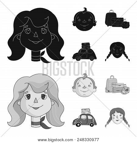 Camping, Woman, Boy, Bag .family Holiday Set Collection Icons In Black, Monochrome Style Vector Symb