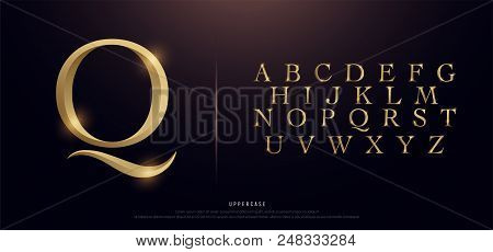 Set Of Elegant Gold Colored Metal Chrome Uppercase Alphabet Font. Typography Classic Style Golden Fo