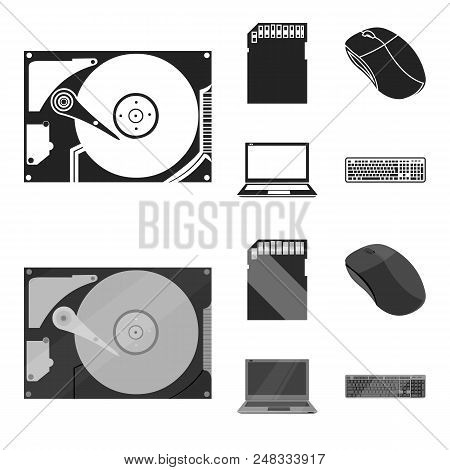 Computer Mouse, Laptop And Other Equipment. Personal Computervset Collection Icons In Black, Monochr