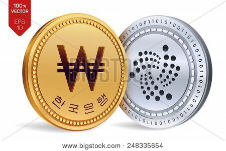 Iota. Won. 3d Isometric Physical Coins. Digital Currency. Korea Won Coin. Cryptocurrency. Golden And