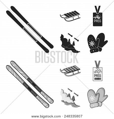 Ski, Sled, Lifeguard Badge, Badge Avalanche. Ski Resort Set Collection Icons In Black, Monochrome St