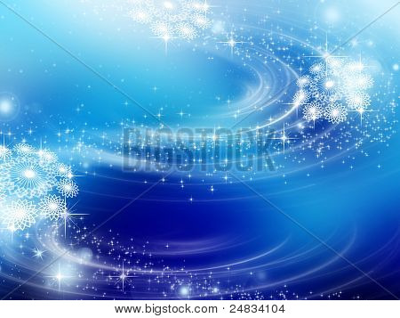 snowflakes and stars blue descending on background