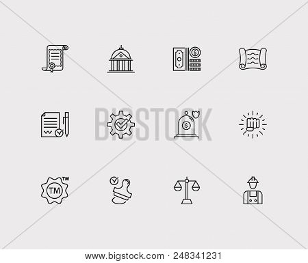 Legal Icons Set. Insurance And Legal Icons With Law, Compliance And Legal. Set Of Decision For Web A