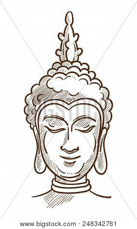 Budha Asian Religion Character Monochrome Sketch Outline. Hand Drawn Image Of Head Founder Of Buddhi