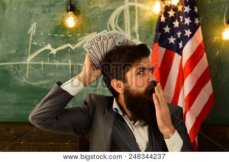 Patriotism And Freedom. Patriotism And Financial Freedom Of Bearded Man