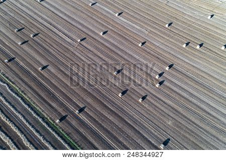 Aerial View On The Hay Bales On The Field