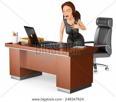 3d Business People Illustration. Businesswoman Suffering A Heart Attack In Her Office. Isolated Whit