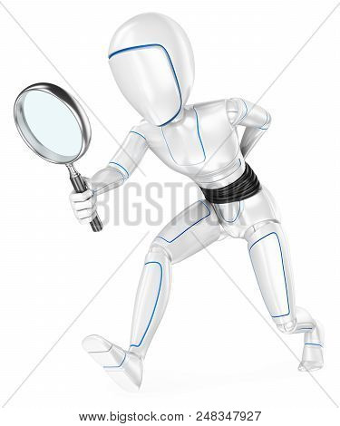 3d Futuristic Android Illustration. Humanoid Robot Looking For With A Magnifying Glass. Isolated Whi