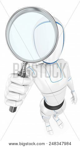 3d Futuristic Android Illustration. Humanoid Robot With A Magnifying Glass. Isolated White Backgroun
