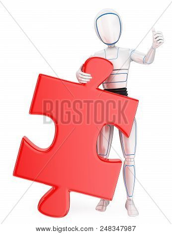 3d Futuristic Android Illustration. Humanoid Robot With A Huge Puzzle Piece. Solution. Isolated Whit