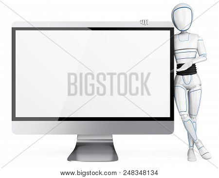3d Futuristic Android Illustration. Humanoid Robot Leaning On A Big Blank Screen. Isolated White Bac