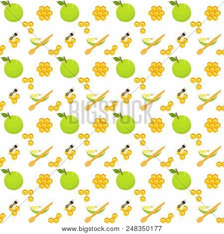 Honey Seamless Pattern With Apples, Honeycomb, Honey Dippers, Bees And Apple Slices, Holiday Symbols