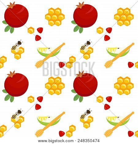 Seamless Pattern With Pomegranates, Apple Slices And Honey Dippers, Honeycombs And Bees, Holiday Sym