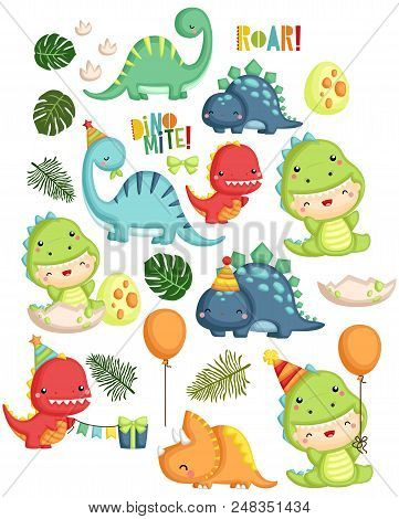 A Vector Set Of Dinosaur Birthday Theme For Boys