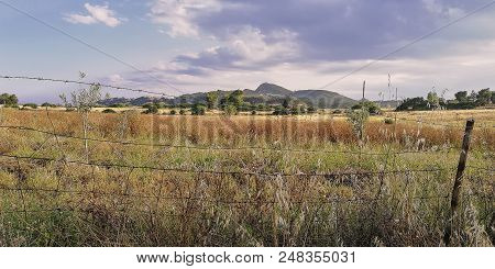 Typical Countryside Of Southern Sardinia (costa Rei, Muravera) With A Mountain In The Background And
