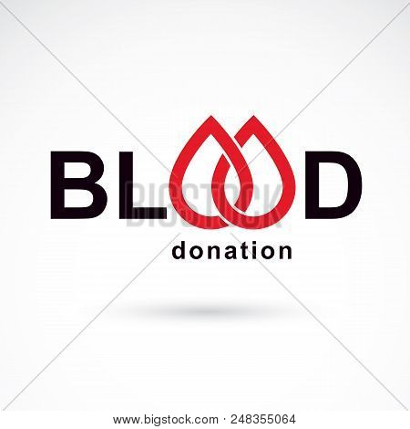 Blood Donation Inscription Isolated On White. Vector Red Blood Drops. The 14 June, World Blood Donor