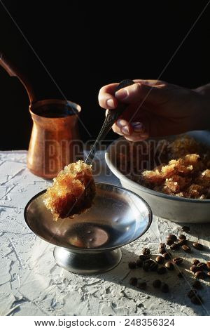 Bowl With A Cold Coffee Dessert, A Dish For Dessert And Grains On The Table. Sicilian Granite Vertic
