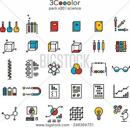 Stylized Graphical Colorful Science Icon Set Of Thirty (30) Items