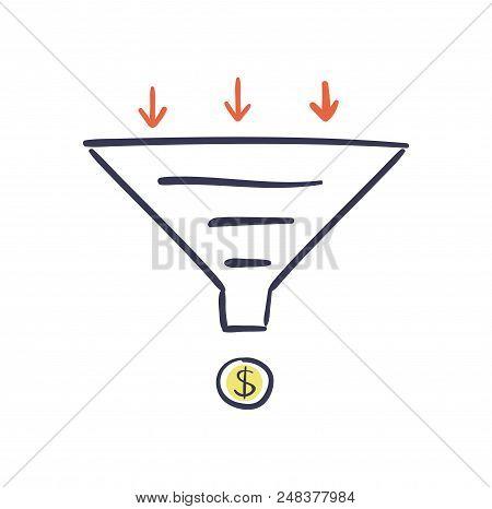 Sales Funnel Vector Hand Drawn Illustration. Internet Marketing Conversion Concept.