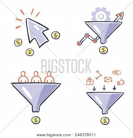 Internet Marketing Instruments - Hand Drawn Design Illustrations. Vector Set Of Conversion, Optimiza