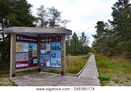 Whitefish Point, Mi / Usa - May 28, 2017:  The Walkway At Seney National Wildlife Refuge, Near The W