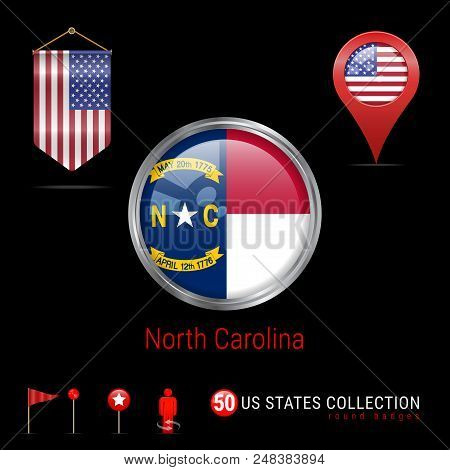 Vector Badge With North Carolina Us State Flag. Glossy Button Flag Of North Carolina. Round Icon Of