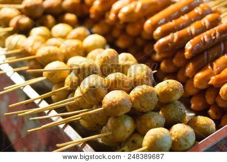 Sausages Food At Walking Street, Selective Focus