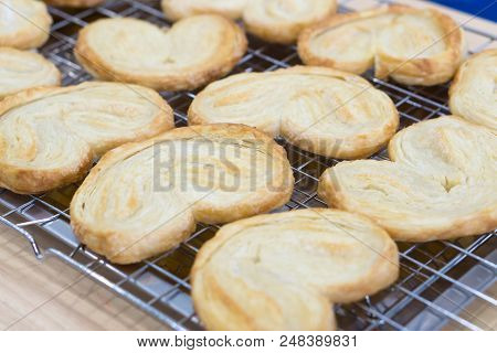 Closeup Butterfly Pie Or Palmier Cookie, Sweet And Dessert Concept, Selective Focus