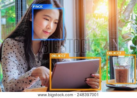 Machine Learning analytics identify person and object technology , Artificial intelligence concept. Software UI analytics and recognition people and object. poster