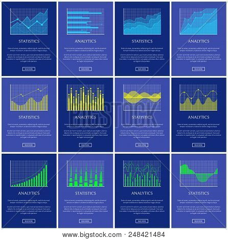 Analytics And Statistics Chart Vector Illustration, Lines Dots And Waves Graphics, Graphical Charts