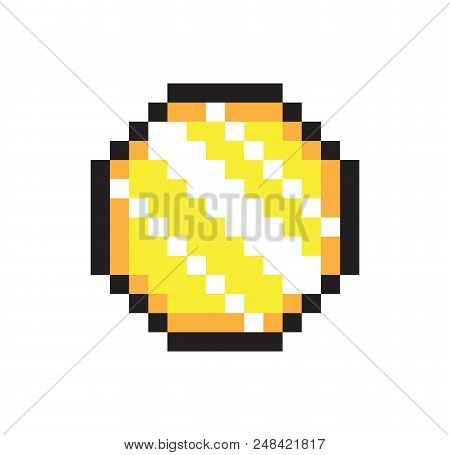 Sparkle coin sketch, pixel money, vector banner, black frame, abstract pixel reflections, shiner coin, pixel illustration isolated on white backdrop poster