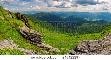 Beautiful Panorama Of Mountainous Landscape. View From The Edge Of A Hillside With Cliffs. Borzhava