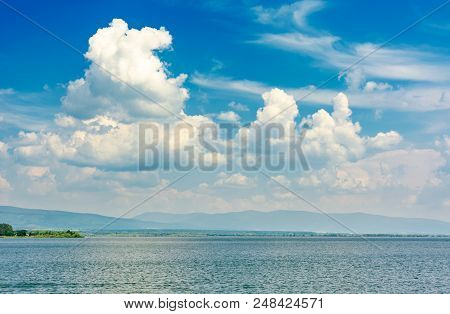 Gorgeous Cloudscape Over The Zemplinska Sirava. Beautiful And Calm Scenery Of One Of The Largest Slo
