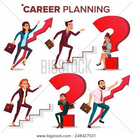 Career Planning Vector. Hr Concept. Find New Job. Huge Red Question Mark. Fast Career Growth. Job Su