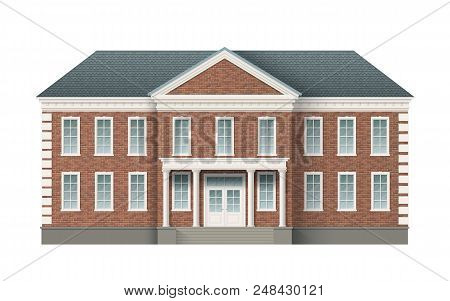 Front View Of Brick Administrative Governmental Building With Grey Roof. Traditional Classic Archite