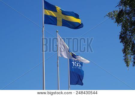 Swedish Flag Waving On A Windy Day In Ludvika,dalarna
