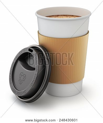 Open Take-out Coffee In Thermo Cup With The Lid - 3d Illustration