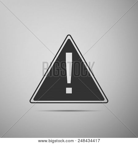 Exclamation Mark In Triangle Icon Isolated On Grey Background. Hazard Warning Sign, Careful, Attenti