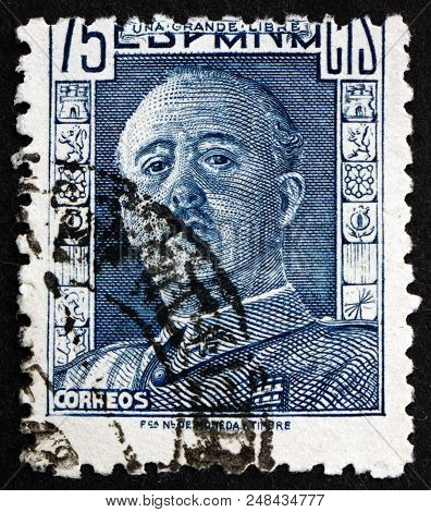 Spain - Circa 1946: A Stamp Printed In The Spain Shows General Franco, Caudillo Of Spain, Head Of St