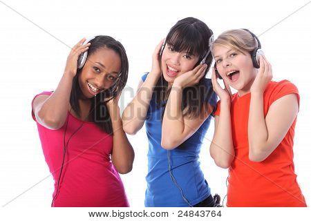 Teenage Girls Singing To Music On Mobile Phones