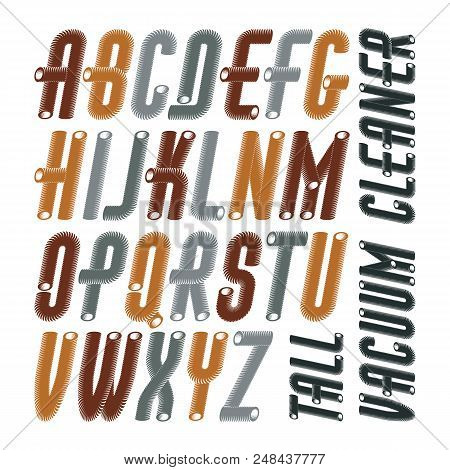 Vector Condensed, Tall, Funky Capital Italic Alphabet Letters Collection. Retro Font, Script From A
