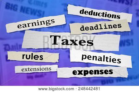 Taxes Headlines Earnings Income Tax Rate News Headlines 3d Illustration