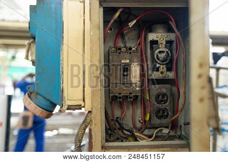 close up old and dirty Breakers switch in electric box, circuit breakers, electrical panel, switch with wires poster