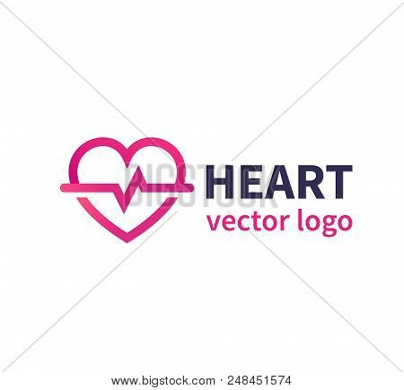 Heart Vector Logo For Cardiology Clinic, Cardiologist, Eps 10 File, Easy To Edit