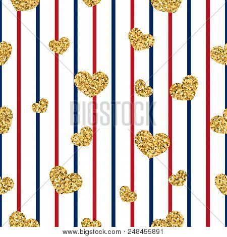 Gold Heart Seamless Pattern. Red-blue-white Geometric Stripes, Golden Confetti-hearts. Symbol Of Lov