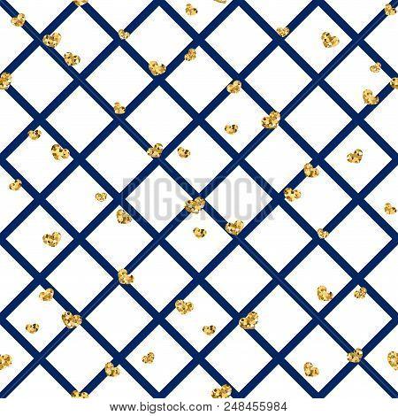 Gold Heart Seamless Pattern. Blue-white Geometric Decoration, Golden Confetti-hearts. Symbol Of Love