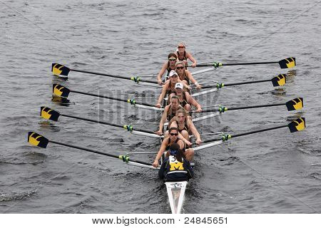 University of Michigan women's Eights races in the Head of Charles Regatta