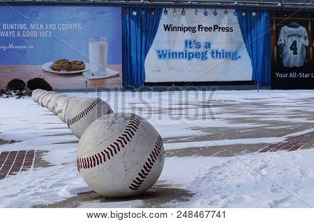 Winnipeg, Canada - 2014-11-18: Street Art Installation Of Baseballs Near Winnipeg Goldeyes Baseball